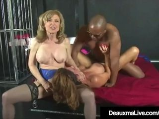 Insatiable milfs Deauxma & Nina Hartley bang & inhale ebony pecker!