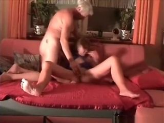 Granny warms up with a vibrator, blows grandpa's cock and gets her shaved pussy eaten out on the s.