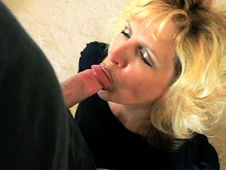 Light-haired mature point of view deep throating with lust