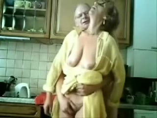 Petting time with my 62 yo shot haired granny in kitchen