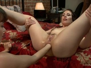 Youthful mummy gets her mini-rosebud fisted and torn up with a big anal invasion ass-plug
