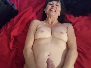 Comely SireniaLeigh has their way breast fucked with an increment of cum overhead