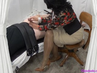 Dominatrix mother Gives tied gimp Slow hand-job