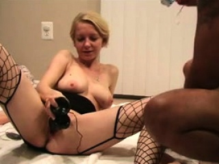 Ample and ample-titted mature light-haired tart with her playthings