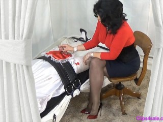 Mistress mother Gives trussed Sissy hand-job jerking