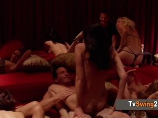 Hubby is concerned about sharing his wifey at the swingers soiree