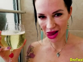 Angie Noir in Step mummy gulps my piss and jizm