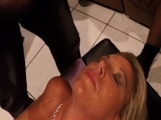 Trio big black cock garbage my wifes faces with jizz
