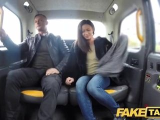 Faux cab naughty French wifey sharing cab backseat three way