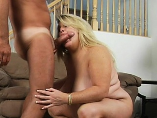 Fat girl seduces pretty fellow to group-sex her very well