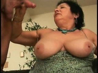 Beamy female parent Gives BJ Rides flannel added to Takes Cumshot far colossal pair