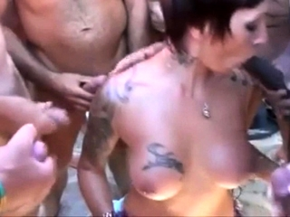 Nudist Gangbang relating to French seaside floozy