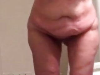 Plus-size wifey Clair - naked After bathroom