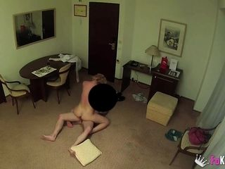 Mature russian blonde films herself fucking the room service guy