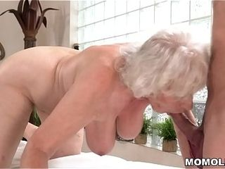 Elderly matriarch Norma enjoys lovemaking make sure of rub down