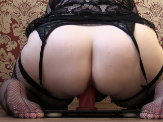 Plus-size cougar with good-sized bumpers, rider on fuck stick jiggling with bumpers