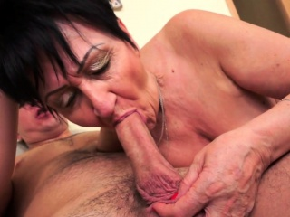 Obese european grandma pussylicked and stuffed