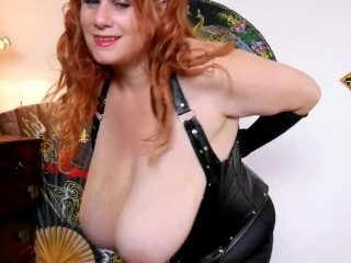 Redhead beside obese breast sucks plus is facialised