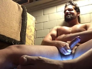 Facial hair muscle displays off while wifey away (no cum)