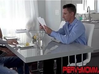Mischievous housewife gives head while hubby in the same guest room