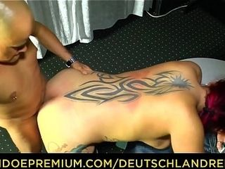 DEUTSCHLAND REPORT - tatted ginger-haired in her 40s bj's man-meat and rails it for unexperienced German porno