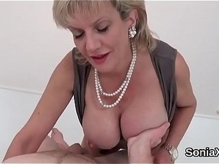 Unfaithful uk cougar dame sonia unsheathes her phat hooters