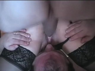 Cheating stance, spouse licks wifey analy boinked by bull