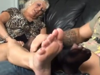 Old woman principal footjob