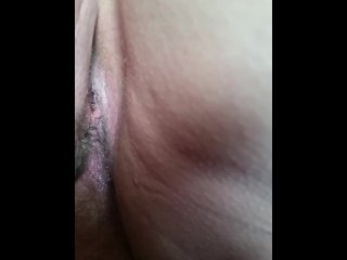 Rubbing away my wife's beamy Victorian glib pussy