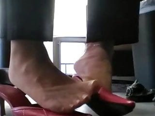 P-Love office nylon Tootsies in crimson mules