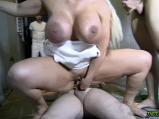 Steaming Back Alley Public threeway with cougar Alura Jenson