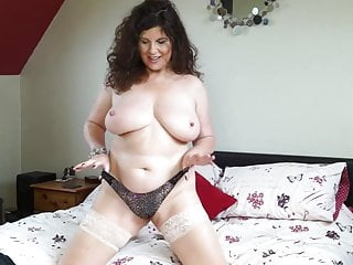 Titillating curvy grown-up mammy beside chunky boobs plus pain in the neck