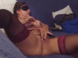 Calligraphic blindfolded get hitched rubs their way clit