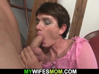 Dick-hungry senior mummy in law rails his dick