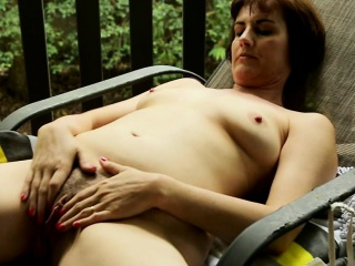 Horny MILF give herself several orgasm outside