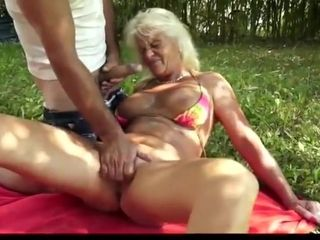 Granny anal outdoor