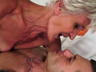 Smalltit granny gets queasy pussy pounded firm