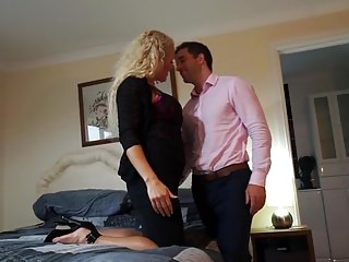 Hot British MILF Rebecca sucking increased by making out