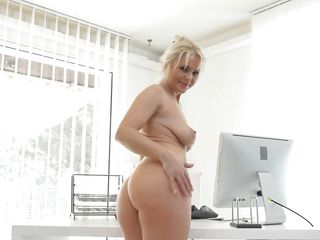European Blonde Milf Masturbates In The Office