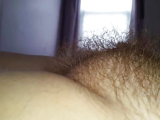 rubbing my wifes big round hairy pussy bulge