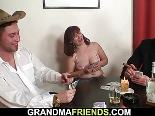 Sandy-haired older mature double-fucked after card game