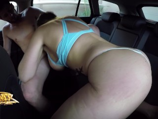 Sloppy DRIVING oral job AND fuck-a-thon - AUBREY dark-hued